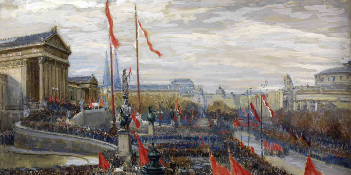 Gemälde der Versammlung vor dem Wiener Parlament anlässlich der Ausrufung der Republik 1918