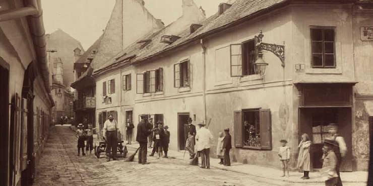 Historisches Foto der Fechtergasse im neunten Wiener Gemeindebezirk