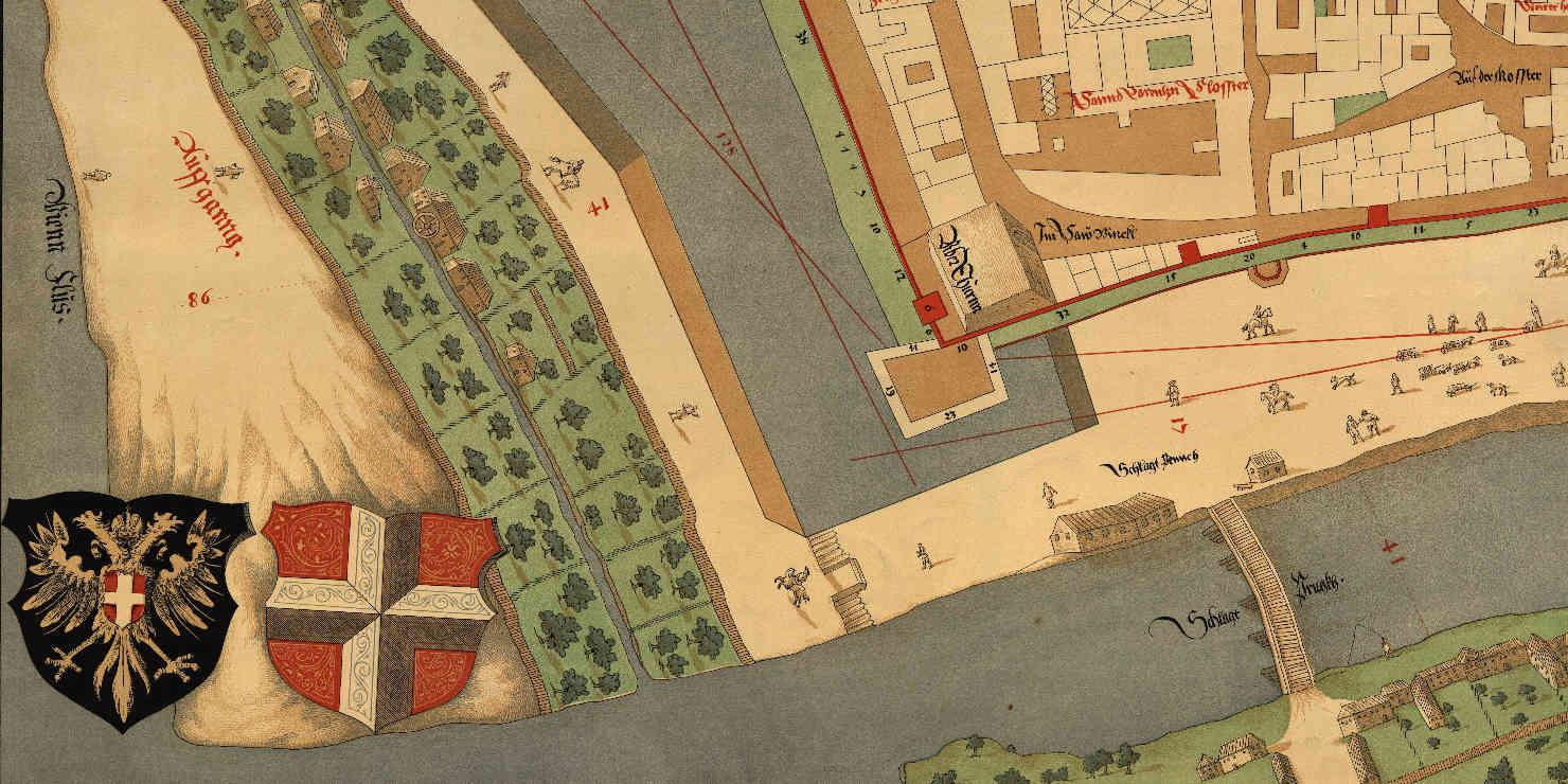 Teilansicht eines historischen Stadtplans von Wien
