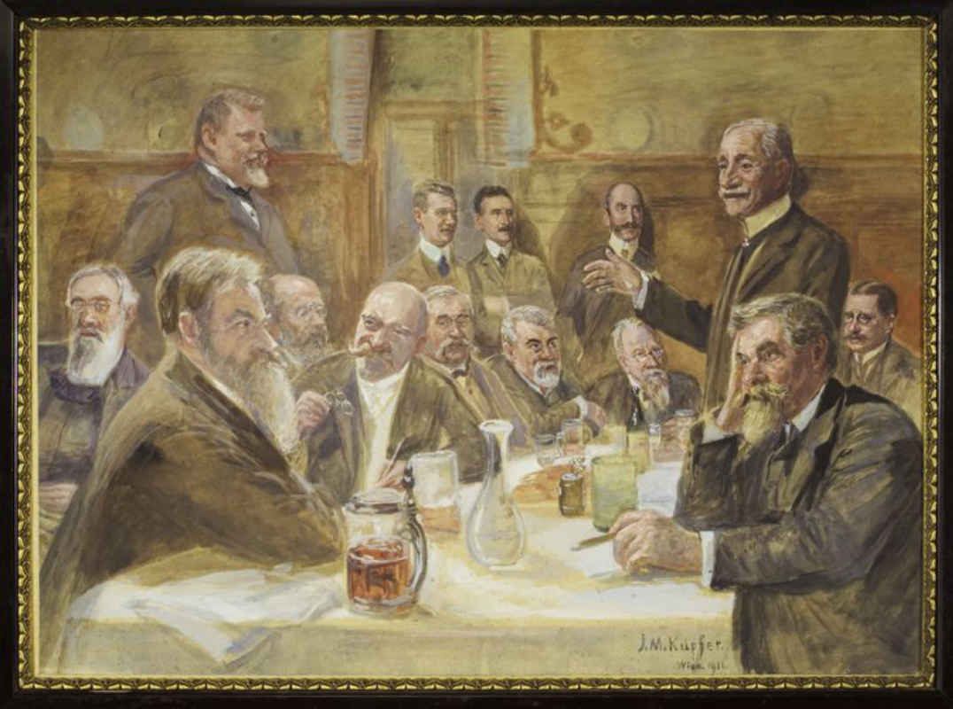 Die Donnerstagsgesellschaft. Gemälde von J. M. Kupfer, 1911 (Wien Museum, Inv.Nr. 93.873)