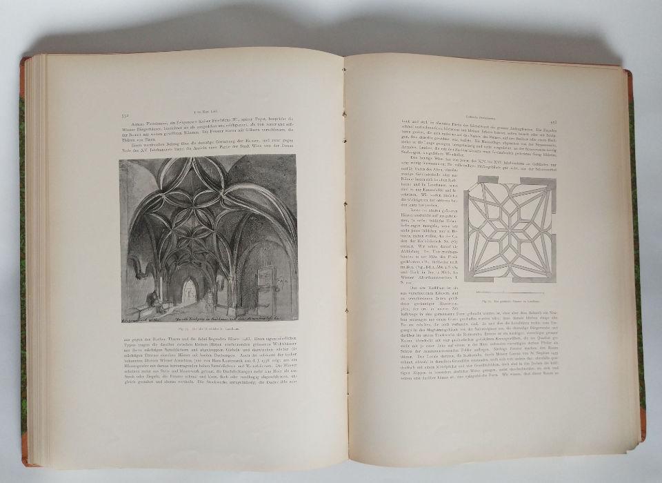 """Doppelseite aus einem Band der """"Geschichte der Stadt Wien"""" mit Abbildungen zum Alten Landhaus, 1907 (WStLA, Archivbibliothek, B 39, III/2)"""