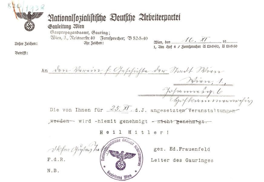 Genehmigung der NSDAP für eine Vereinsveranstaltung, 16.11.1938 (WStLA, Verein für Geschichte der Stadt Wien, A1: 870/1938)
