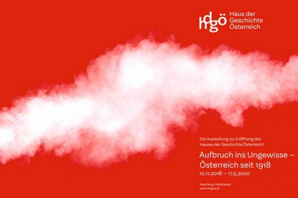 Plakat der Eröffnungsausstellung des Hauses der Geschichte: 'Aufbruch ins Ungewisse - Österreich seit 1918'