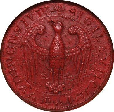 Das Große Stadtsiegel in seiner ab ca. 1231 belegten Form, Abdruck 1365 (WStLA, Hauptarchiv-Urkunden, U1: 643; CC BY-NC-ND 4.0)